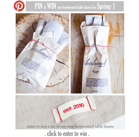 Tabletop linens giveaway